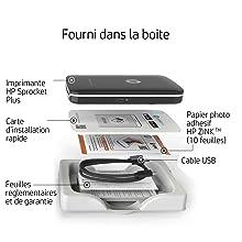 HP Sprocket Plus Imprimante Photo portable Noire