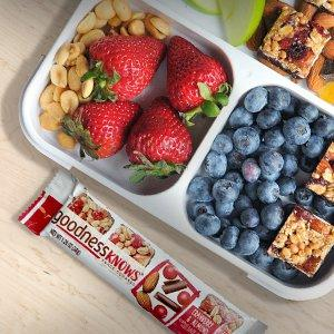 goodnessKNOWS is a fruit and nut bar with dark chocolate for a delicious mini snack.