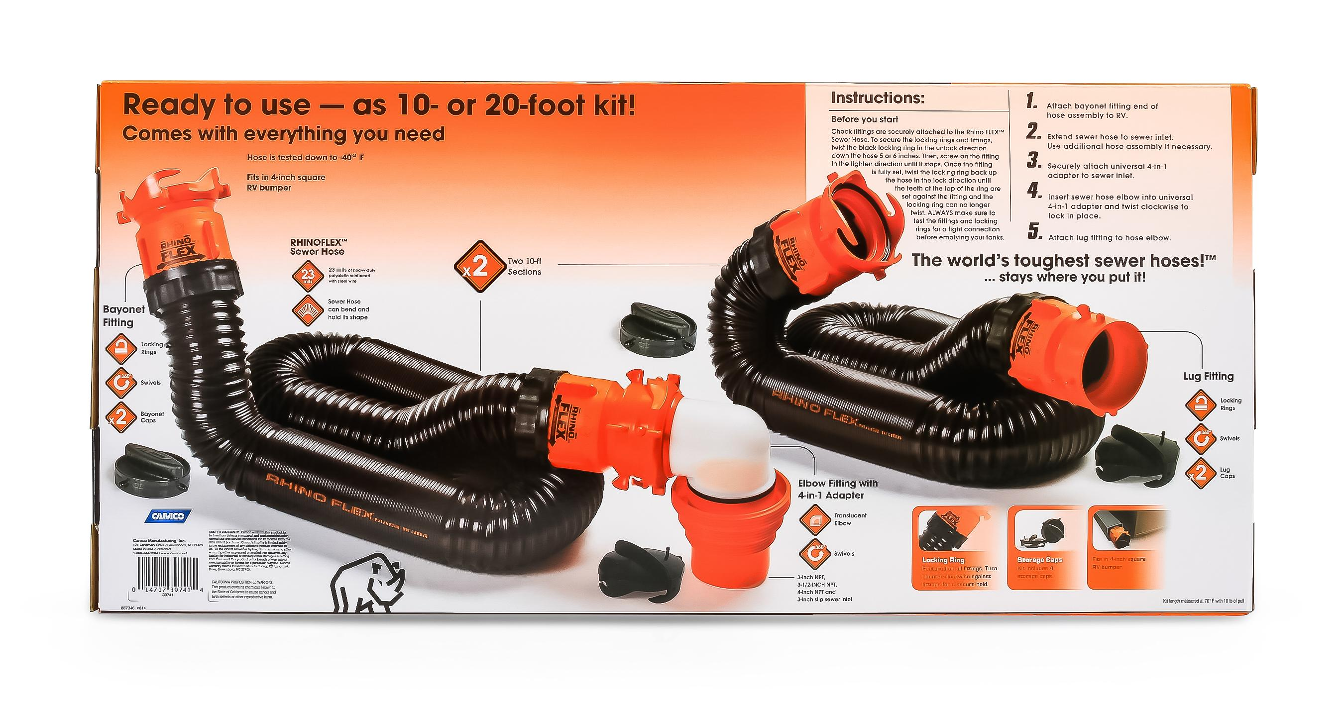 Amazon.com: Camco RhinoFLEX 20ft RV Sewer Hose Kit