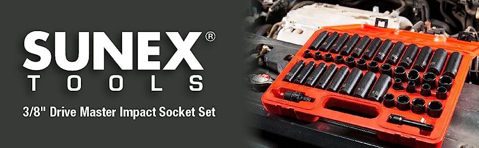 "Sunex 3342 42pc 3//8/"" Std and Deep Length Master Impact Socket Set"