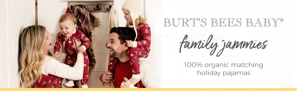 Burt's Bees Baby Family Jammies 2019 Matching Holiday Pajamas PJs Christmas Xmas Hannukah Red Blue 3