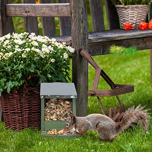 Wooden House Relaxdays Squirrel Feeder Brown Flamed Garden Feeding Station Hanging Weatherproof Metal Roof