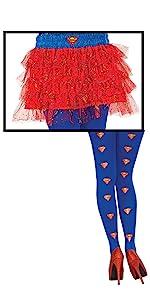 Supergirl ruffled tutu skirt with tights