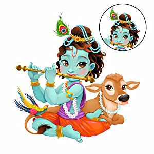 Lord Krishna Flute Playing with Cow