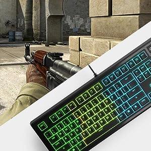 SteelSeries Apex 150, Gaming Keyboard, 5 Zone RGB Illumination, Splash Resistant, Discord Integratio