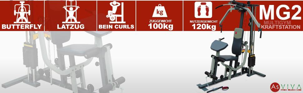 asviva mg2 kraftstation multi gym mit power boost funktion inkl gewichte fitness station f r. Black Bedroom Furniture Sets. Home Design Ideas