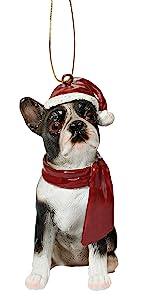 Design Toscano Boston Terrier Holiday Dog Christmas Tree Ornament Xmas Decorations