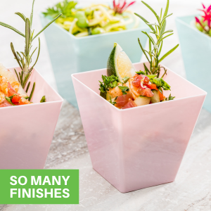 Available in a variety of finishes, these dessert cups complement the theme of any celebration.