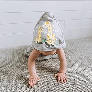 baby crawling giraffe towel cute adorable grey animals