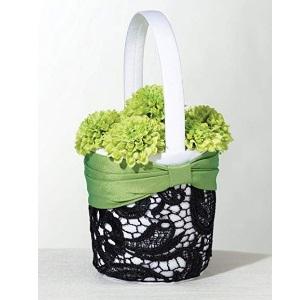 Green amp; Black Lace Flower Girl Basket