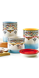 small medium and large canister multicolor lids