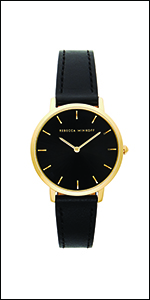 Rebecca minkoff, black , leather, strap,leather strap, black dial, gold plated case,
