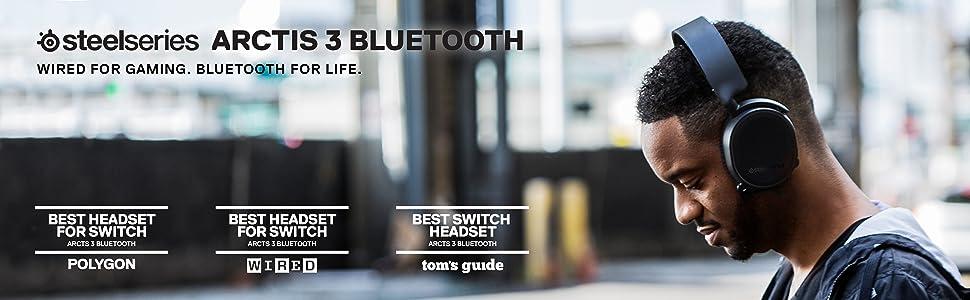 SteelSeries Arctis 3 Bluetooth, cuffie da gioco senza fili, PC, PlayStation 4, Nintendo Switch