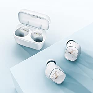 CX 400BT True Wireless White Earbuds and case