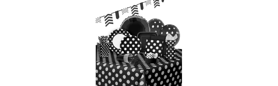 Polka dot plastic tablecloth 108 x 54 black ebay for Black polka dot tablecloth