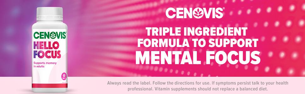 Cenovis Hello Focus, triple ingredient formula to support mental focus