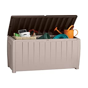 keter novel 90 gallon deck box storage bench patio seating and outdoor storage