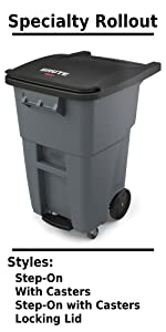 Rubbermaid Commercial Products BRUTE Rollout Wheeled Trash Can Recycling Driveway Container Bins