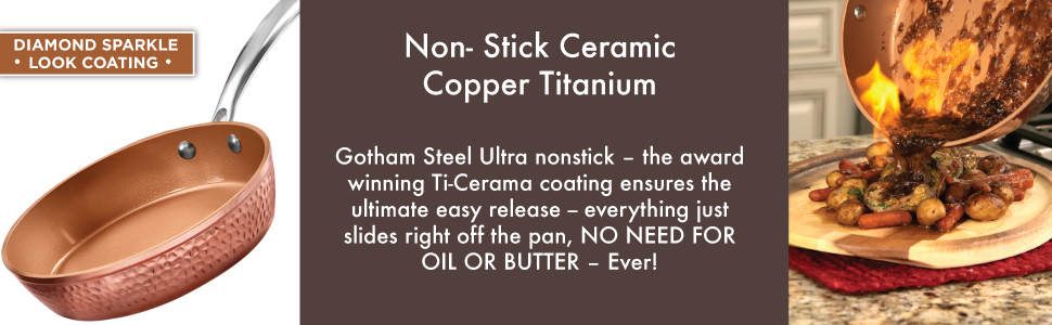 hammered, non-stick, pots and pans, copper titanium, diamond sparkle, no butter or oil needed