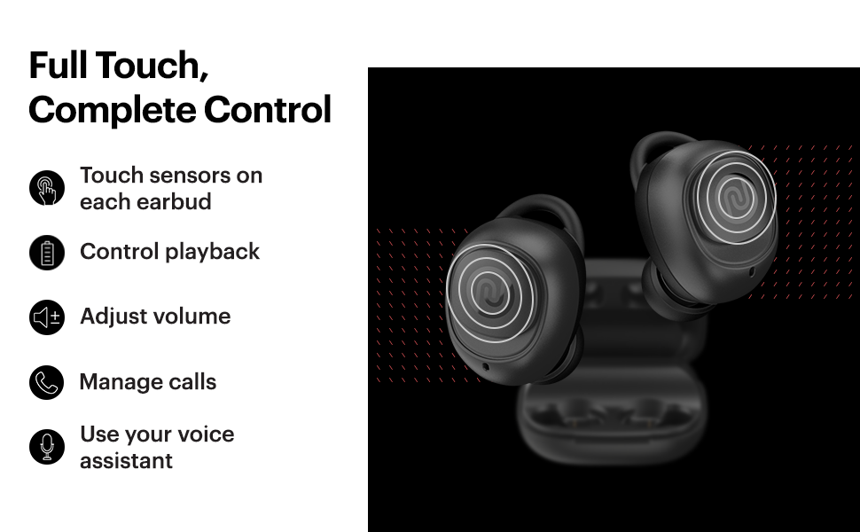 full touch control wireless bluetooth earbuds, voice assistant, wireless earphones with full touch