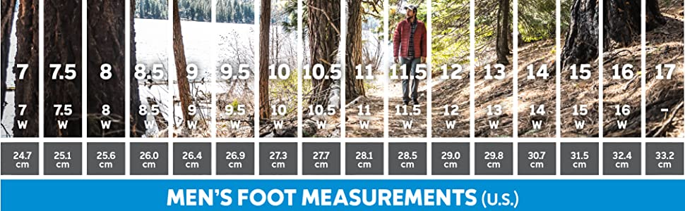 Men's boot size and fit guide