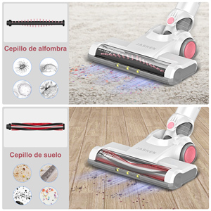 JASHEN Aspirador sin Cable, Aspirador Escoba de Mano 180W Ultraligera 2 en 1, LED Cabeza, 2 Velocidades, Duración de la Batería es Larga-Rosa: Amazon.es: Hogar