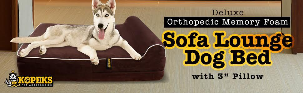Orthopedic Memory Foam Dog bed with Pillow by KOPEKS