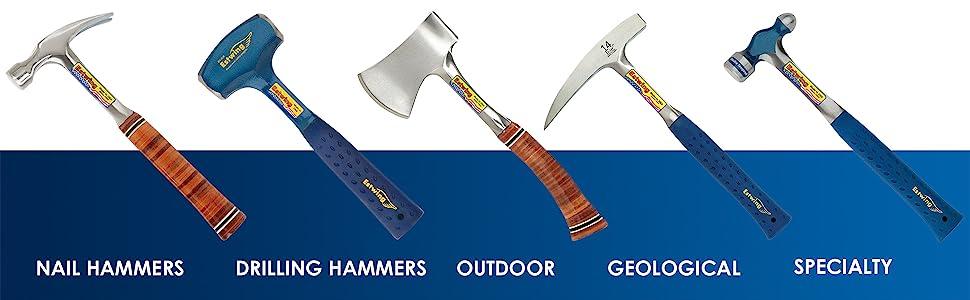 Nail Hammers, Framing Hammer, Drilling Hammer, Axes, Hatchets, Rock Picks, Ball Pein hammer