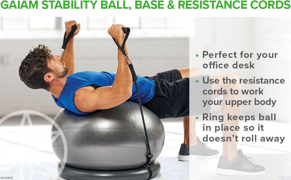 Gaiam Balance Ball & Base Kit With Resistance Band