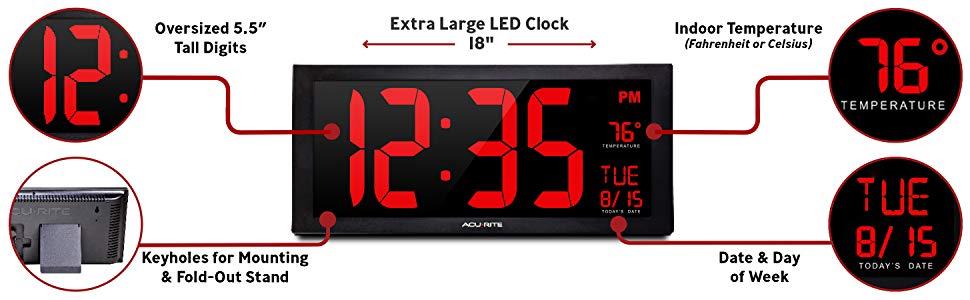 wall clock, led wall clock, jumbo digital clock, clock for visually impaired, accurite, acu-rite