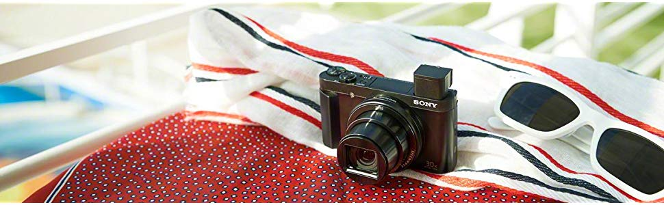 A DSCHX90V camera on a towel.