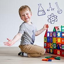 Playmags magnetic tiles blocks for kids stem education development children