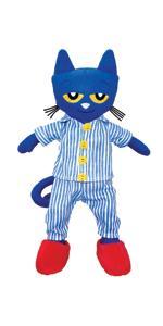 Pete the cat;pete bedtime;bedtime blues;blue cat;stuffed animal cat;cat plush;educational;pete book