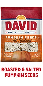DAVIDs salted and roasted pumpkin seeds