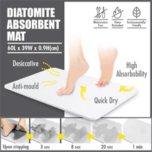 HOUZE - Diatomite Absorbent Mat (Large) : Suitable for bathroom, pool and kitchen use