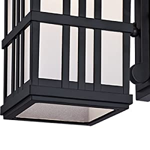 Oil rubbed bronze lines form linear window panel look over frosted glass