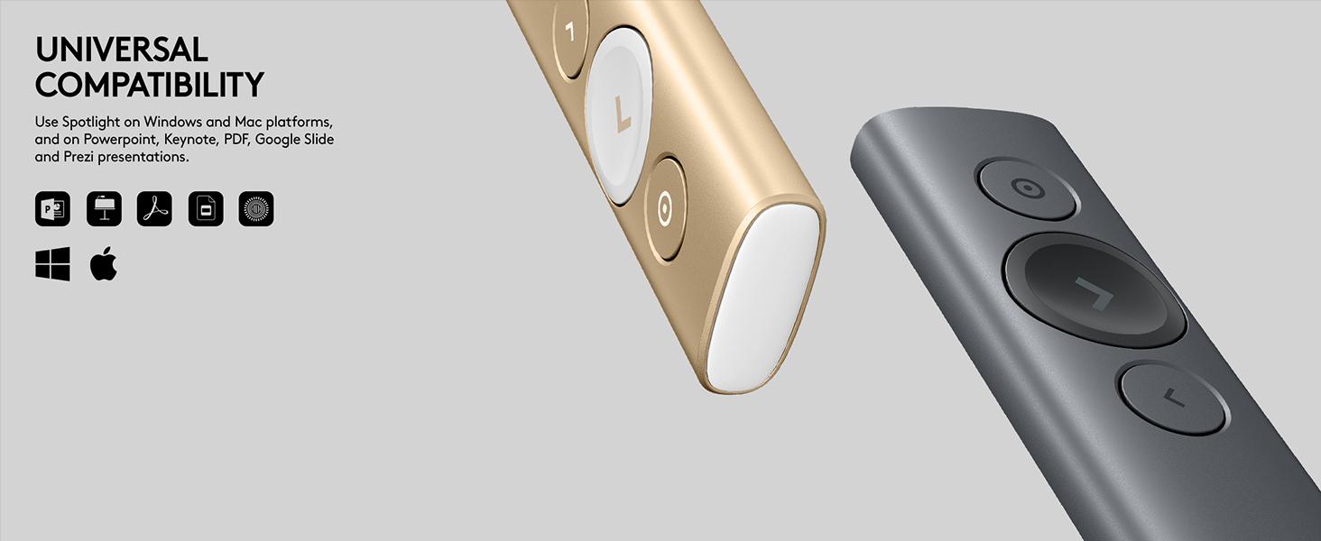 Logitech Spotlight Presentation Remote - Advanced Digital Highlighting with  Bluetooth, Universal Compatibility, 30m Range and Quick Charging – Slate