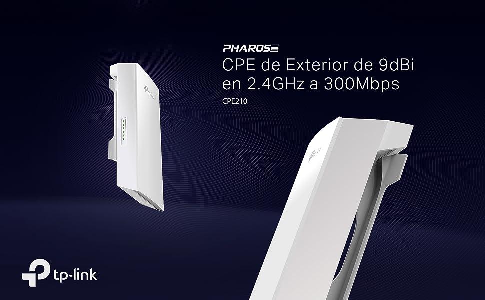 TP-Link CPE210 - CPE de Exterior de 9dBi en 2.4GHz a 300Mbps, 5km+ Punto a Punto Transmisión Inalámbrica, PoE de Suministro Eléctrico y PoE Adaptador ...