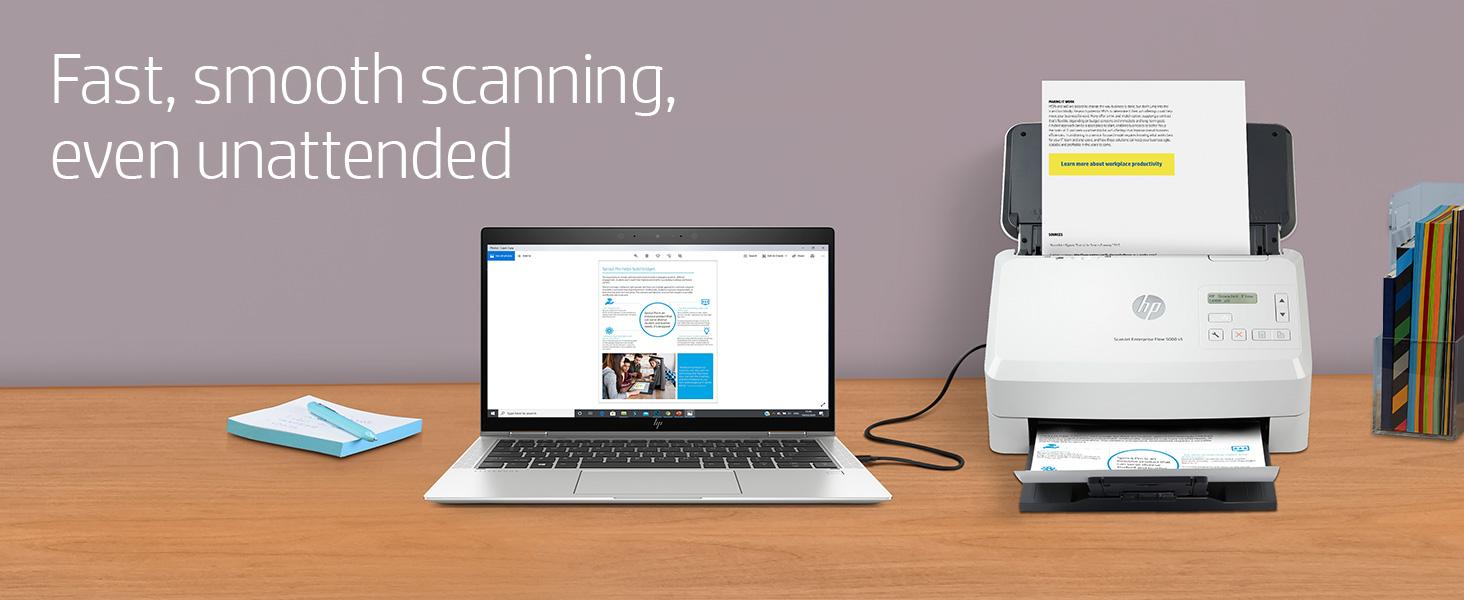 scanjet enterprise flow 5000 s5 scanner fast smooth scanning unattended