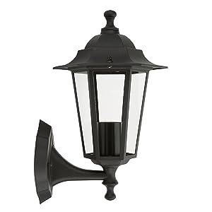 Beleuchtung Massive Sechseckige Schwarze Außenlampe Metall Laterne Neu E27 Auch Led