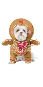 Pet Costume, Dog Costume, Dog Gingerbread, Santa, Mrs. Claus, Christmas Pet Costume, Gingerbread Dog