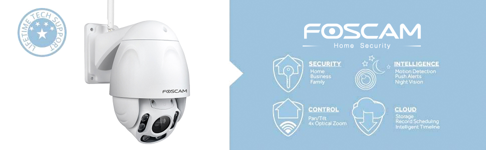 Foscam Outdoor PTZ (4x Optical Zoom) HD 1080P WiFi Security