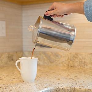 percolator pouring coffee