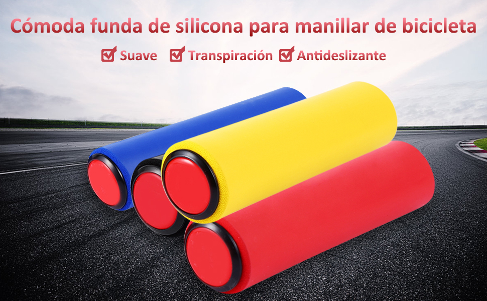 VGEBY1 1 par de Puños Manillar, Gel de Sílice Puños de Bicicleta Cubierta de Manillar con Extremos de Barra, Unisex Adulto(Azul): Amazon.es: Deportes y aire libre