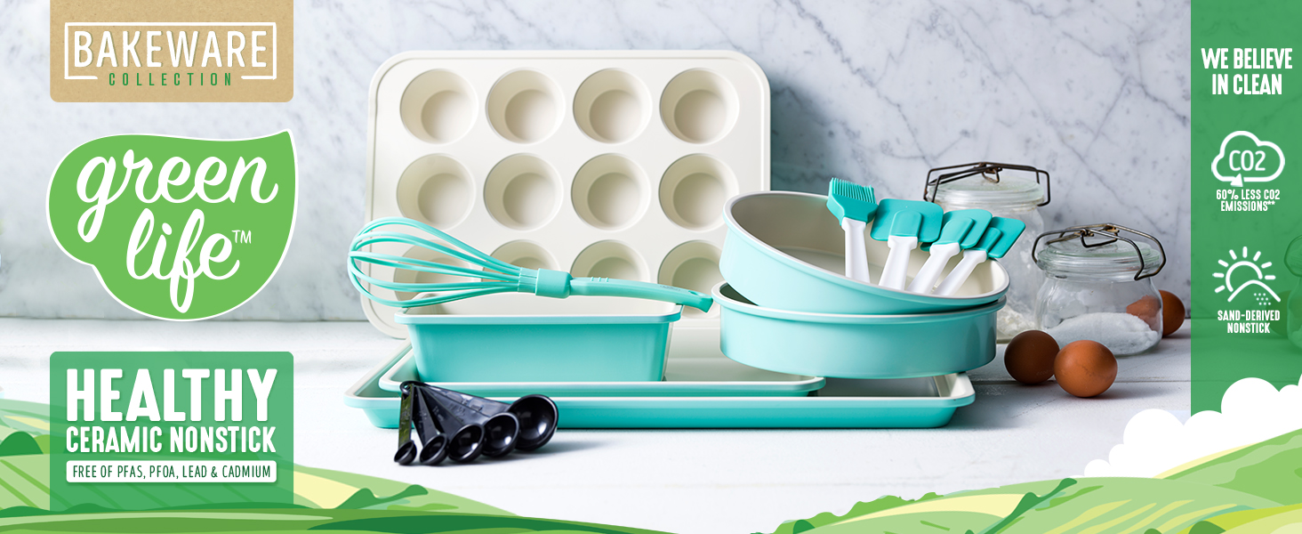 GreenLife, nonstick cookware, bakeware, colorful, healthy, clean cooking, PFAS, durable, baking