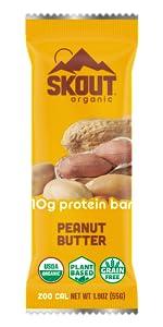 Peanut Butter Skout Organic Plant Based Protein Bar Vegan Non GMO