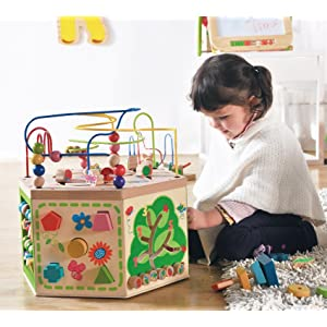 Everearth Garden Activity Cube Wood Shape Color Sorter Bead Maze Counting Baby
