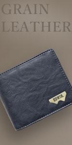 グレイン合皮 Wメタル 二つ折財布
