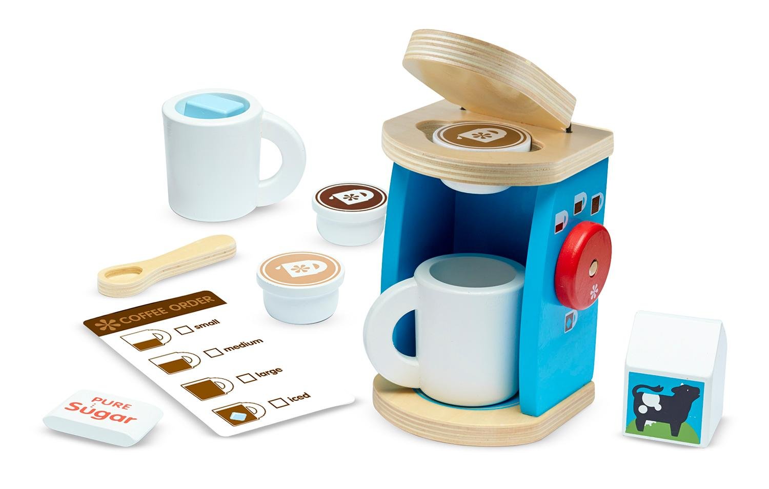 Melissa doug 11 piece brew and serve wooden for Kitchen set in amazon