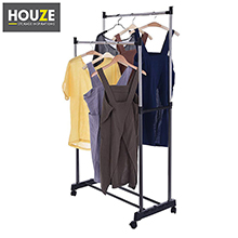 HOUZE - Double Pole Stainless Steel Clothes Hanger: Convenient to use